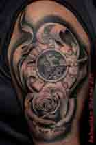 uhr mit rose tattoo watch clock flower