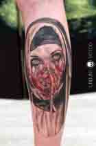 Horror Nun Nonne maske blut Nonnen Tattoo studio essen